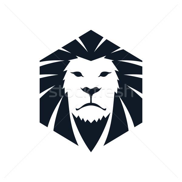 лев голову шаблон логотип вектора искусства Сток-фото © vector1st
