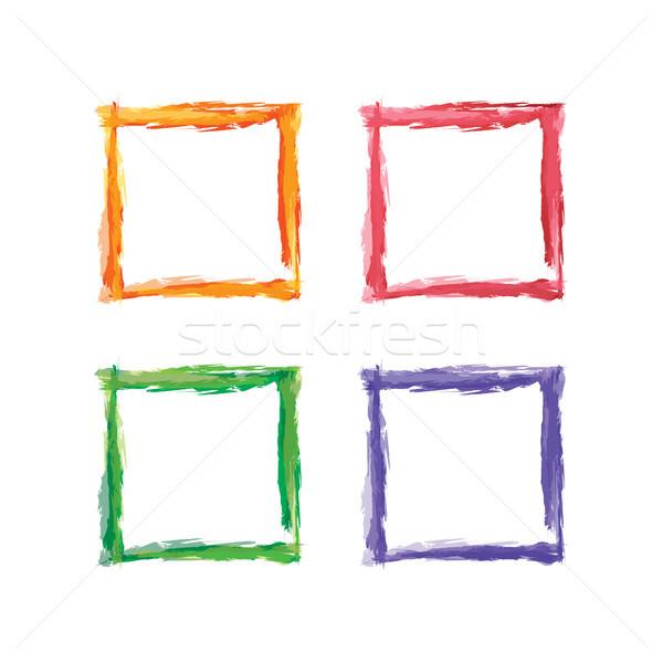 Kare renk çerçeve vektör sanat Stok fotoğraf © vector1st