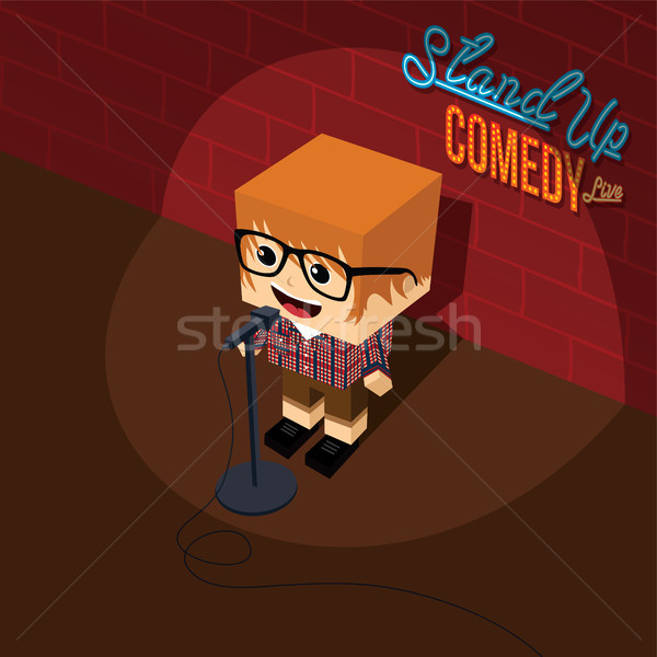 Stand up comédie dessinées Guy stade Photo stock © vector1st