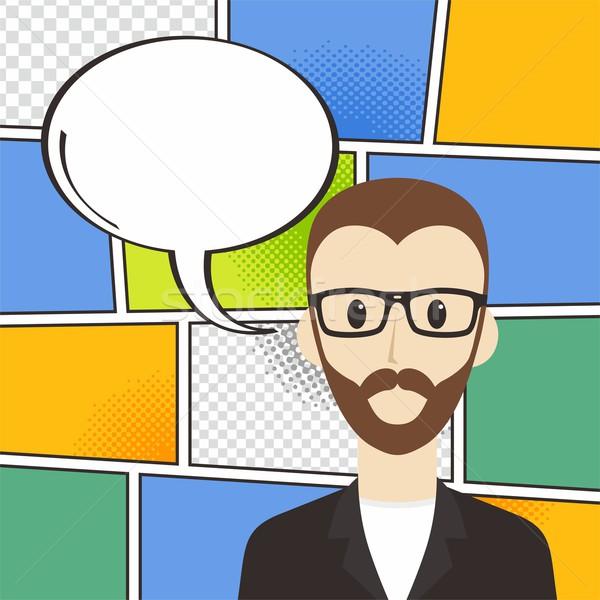 Komiks cartoon szablon człowiek Zdjęcia stock © vector1st
