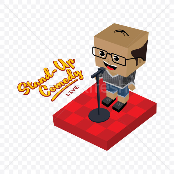 stand up comedy isometric block cartoon Stock photo © vector1st