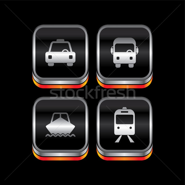 Fém tányér jármű ikon gomb vektor Stock fotó © vector1st