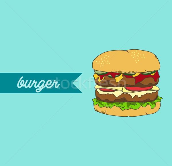 Hamburger étel ital grafikus vektor művészet Stock fotó © vector1st