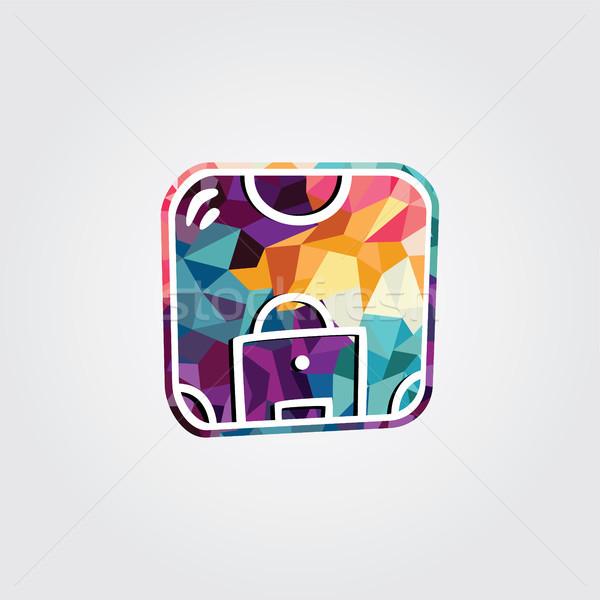 Abstrato colorido triângulo geométrico futebol logotipo Foto stock © vector1st