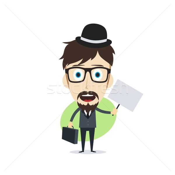 Stockfoto: Gelukkig · zakenman · vector · kunst · illustratie