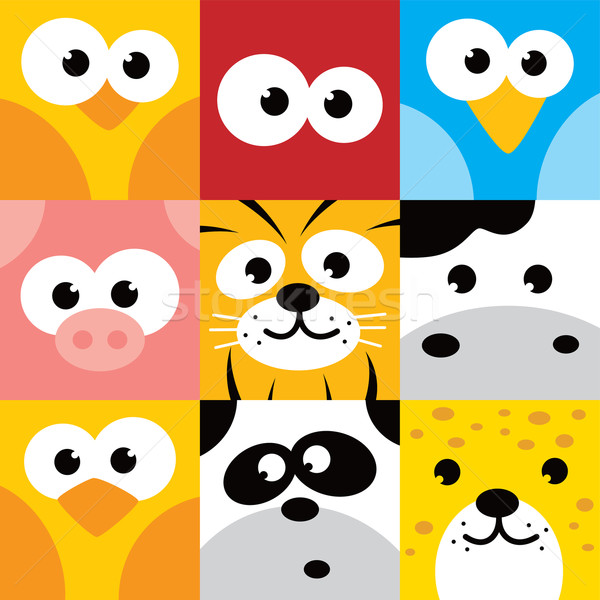 square animal face icon button set Stock photo © vector1st