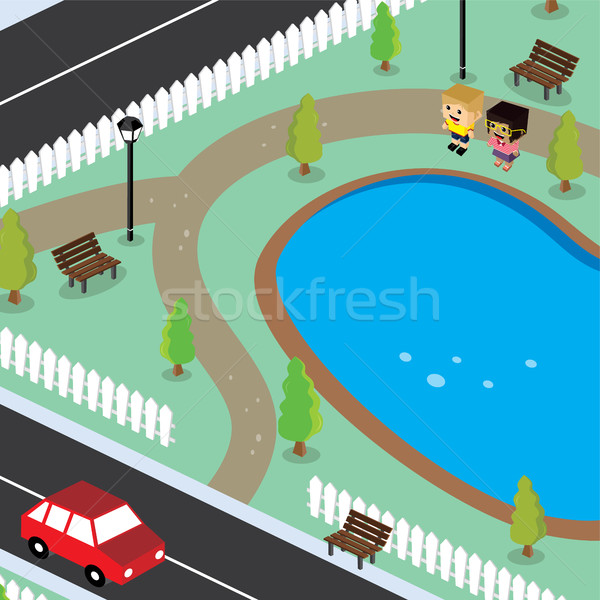 isometric couple residential view cartoon theme Stock photo © vector1st
