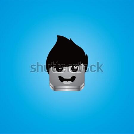 Geek adam avatar portre vektör sanat Stok fotoğraf © vector1st