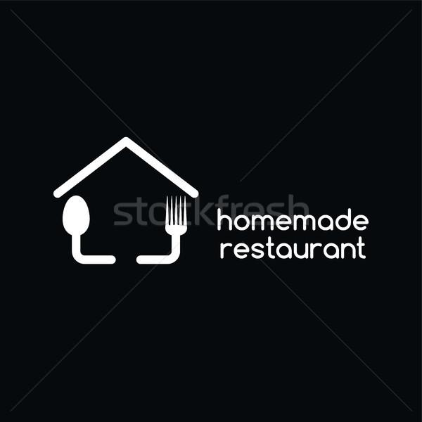 Ev yapımı restoran logo ev içmek Stok fotoğraf © vector1st