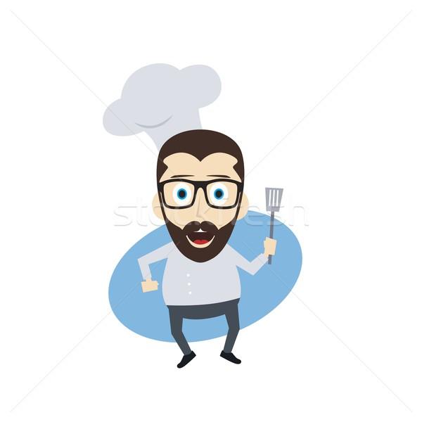 Stockfoto: Meester · chef · cartoon · vector · kunst
