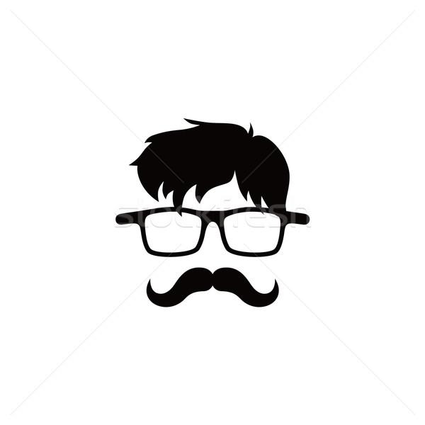 Geek karikatür adam karakter vektör sanat Stok fotoğraf © vector1st