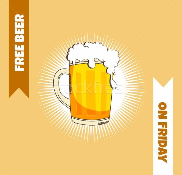 Bier voedsel drinken grafische vector kunst Stockfoto © vector1st
