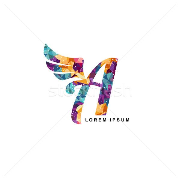 Mosaïque art alphabet lettre ange aile Photo stock © vector1st