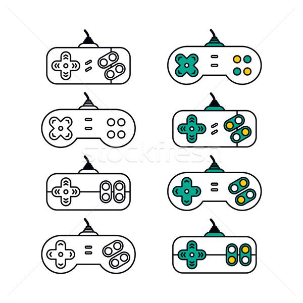 Bedieningshendel video game troosten vector kunst illustratie Stockfoto © vector1st