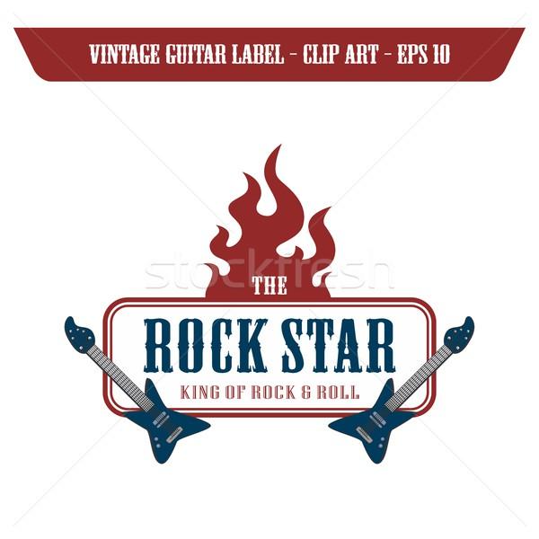 Сток-фото: рок · катиться · гитаре · Label · наклейку · вектора