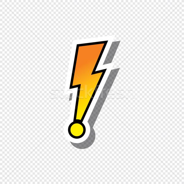 Wykrzyknik tekst naklejki wektora sztuki ilustracja Zdjęcia stock © vector1st