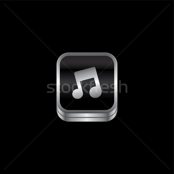 музыку металл пластина икона кнопки вектора Сток-фото © vector1st