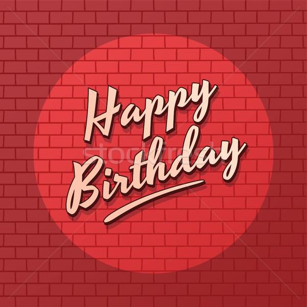 Gelukkige verjaardag baksteen vector kunst illustratie Stockfoto © vector1st