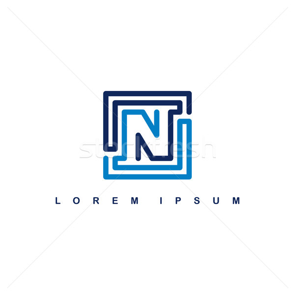 overlap line art template logo logotype alphabet letter n Stock photo © vector1st