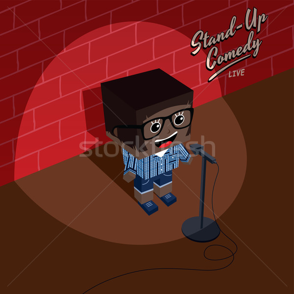 Stand up comédie isométrique cartoon fille Photo stock © vector1st