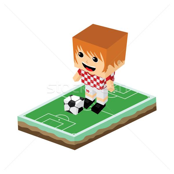 Cartoon footballeur isométrique vecteur art illustration Photo stock © vector1st