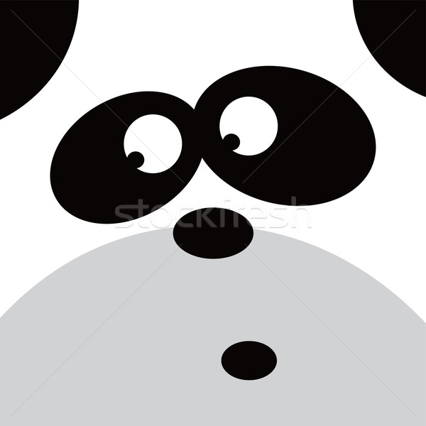 square panda face icon button Stock photo © vector1st