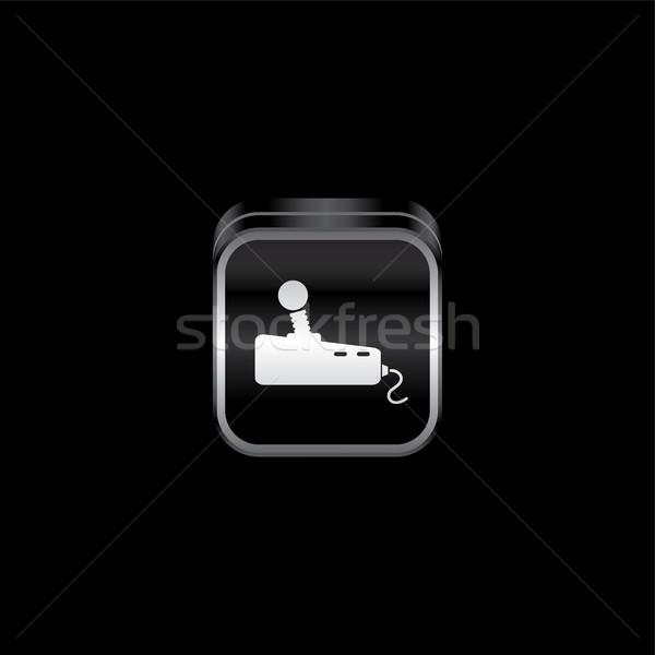 Fém tányér játék konzol ikon gomb Stock fotó © vector1st