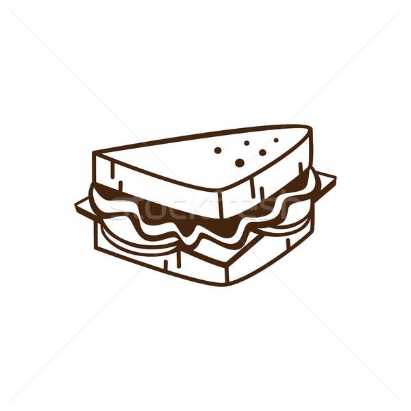 Finom nyami szendvics reggeli rajz vektor Stock fotó © vector1st
