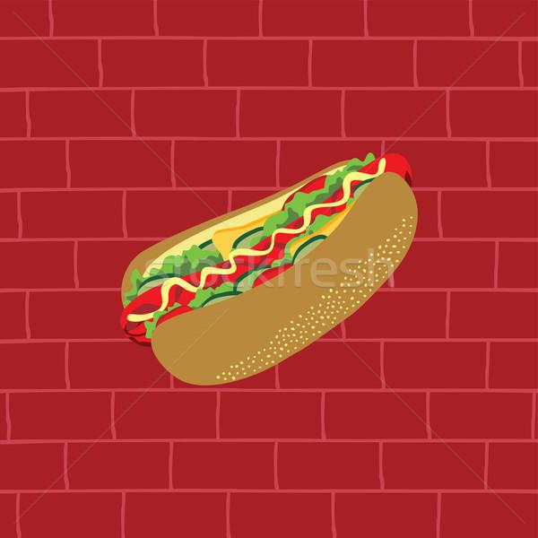 Smakelijk hotdog heerlijk snacks vector kunst Stockfoto © vector1st
