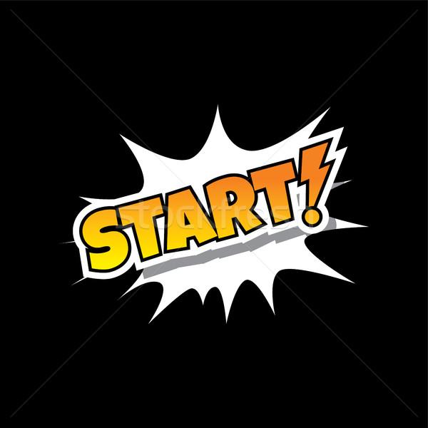 Start - Comic Speech Bubble Cartoon Game Assets Stock photo © vector1st