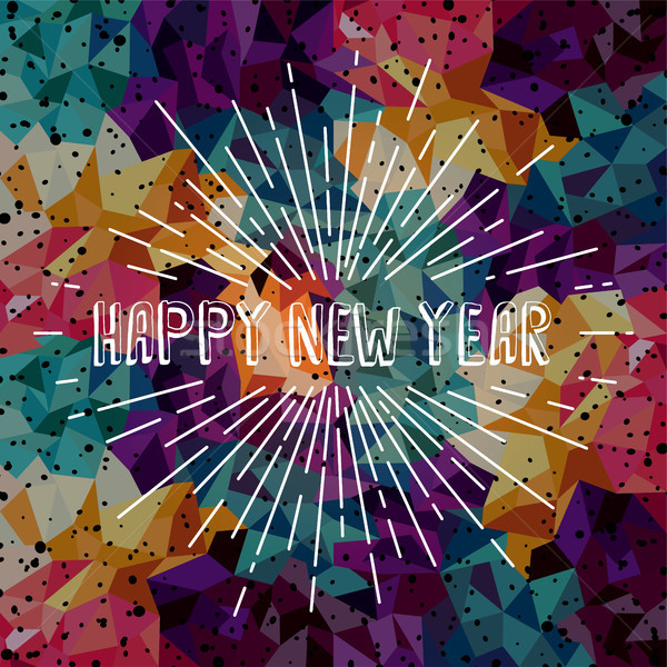 Happy new year metin göstermek güneş ışınları Retro el Stok fotoğraf © vector1st