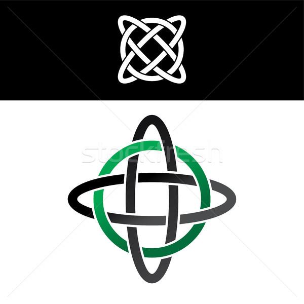 ケルト 緑 黒 抽象的な フローラル ロゴ ストックフォト © vector1st