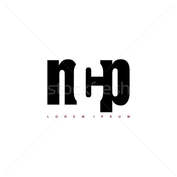 алфавит искусства логотип черно белые письме Сток-фото © vector1st