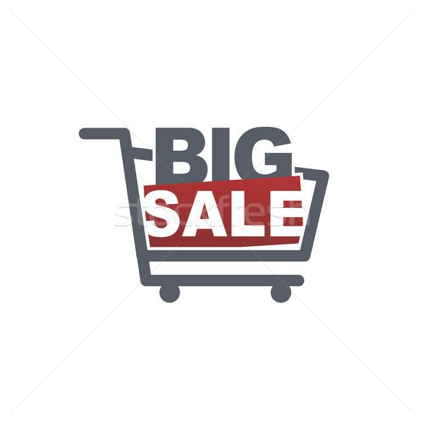 Groot verkoop badge label sjabloon winkelwagen Stockfoto © vector1st