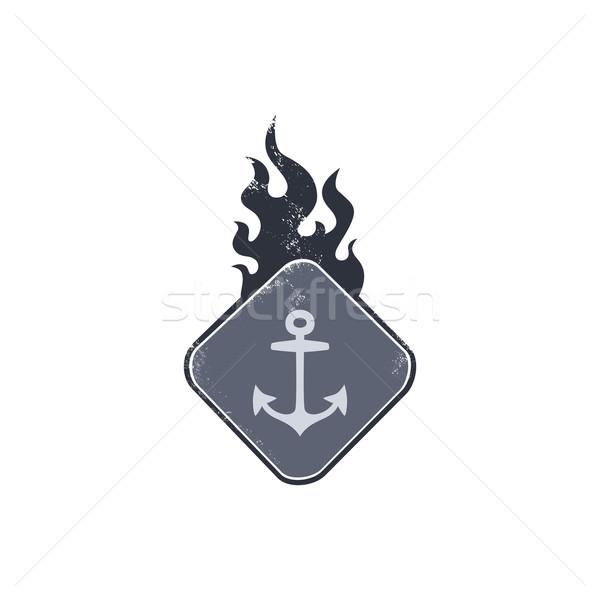 âncora marinheiro assinar fogo Foto stock © vector1st
