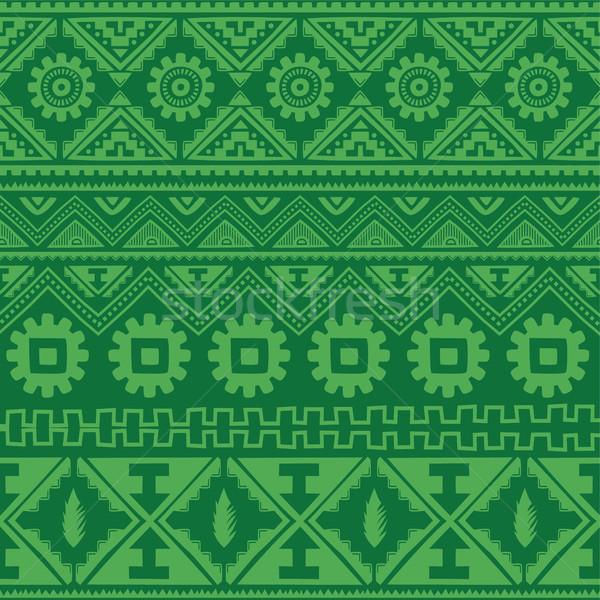 Zöld őslakos amerikai kisebbségi minta vektor Stock fotó © vector1st