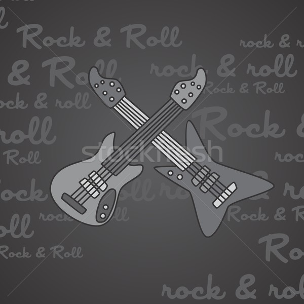 Kő zsemle gitár vektor művészet illusztráció Stock fotó © vector1st