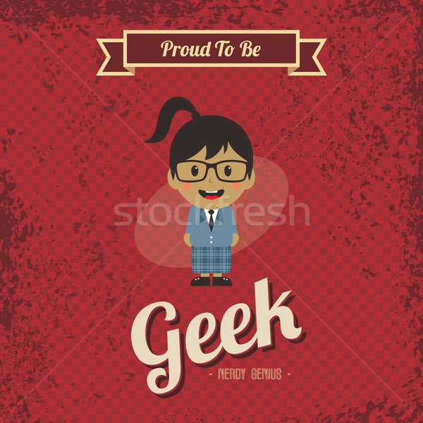Stockfoto: Genie · geek · retro · cartoon · vector · kunst