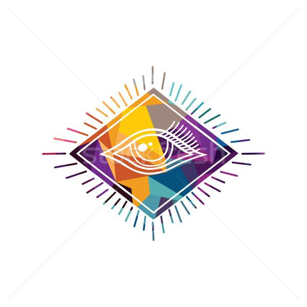 Foto stock: Resumen · colorido · triángulo · geométrico · ojo · textura