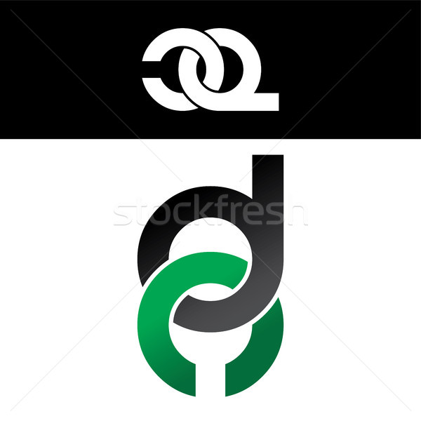 Stock photo: initial letter linked overlapped uppercase logo green black