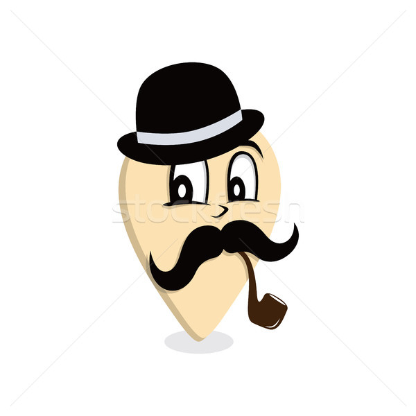 mustache gentleman pipe smoker map pin locator Stock photo © vector1st