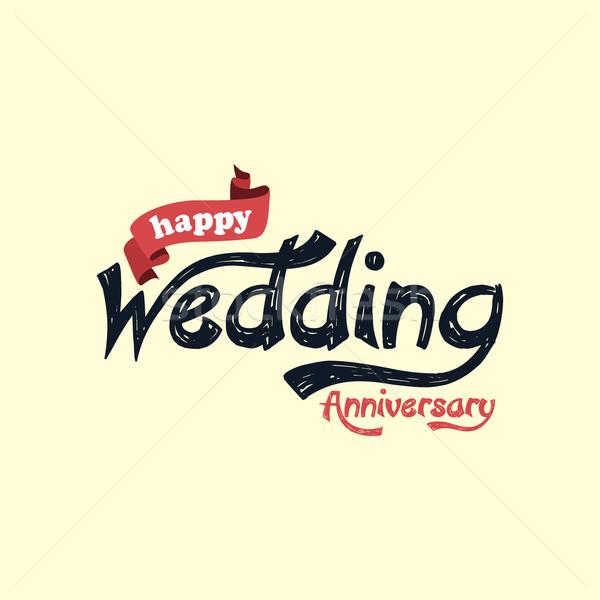 Boldog házassági évforduló vektor művészet illusztráció szeretet Stock fotó © vector1st