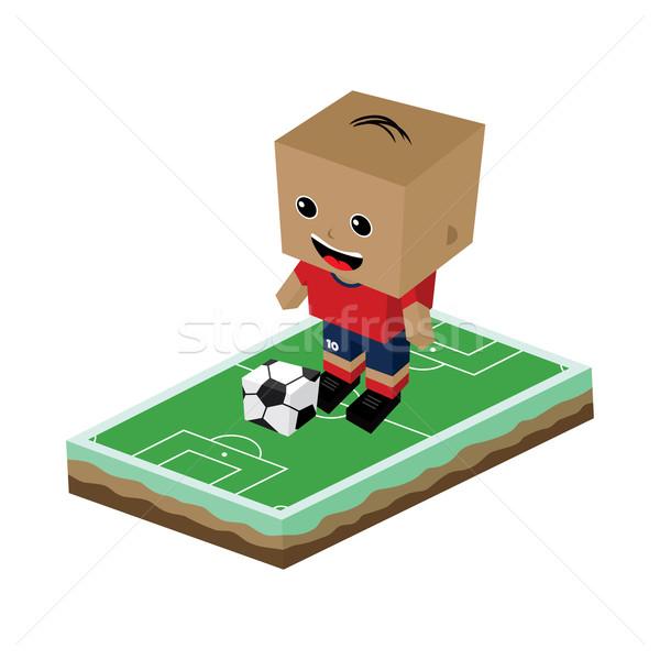 Foto stock: Cartoon · futbolista · vector · arte · ilustración