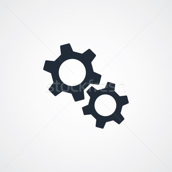 Fogaskerék beállítások ikon szimbólum vektor művészet Stock fotó © vector1st