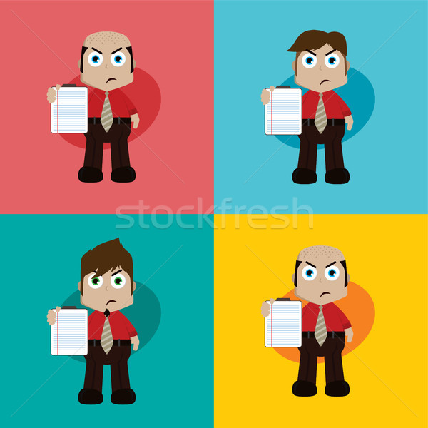 businessman manager at work holding report book cartoon vector art Stock photo © vector1st