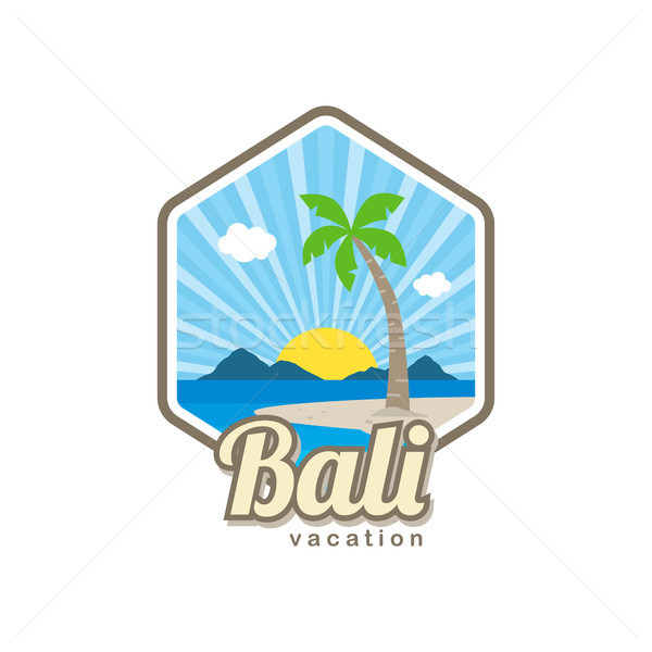 Plaj zaman tropical island bali yaz tatili vektör Stok fotoğraf © vector1st