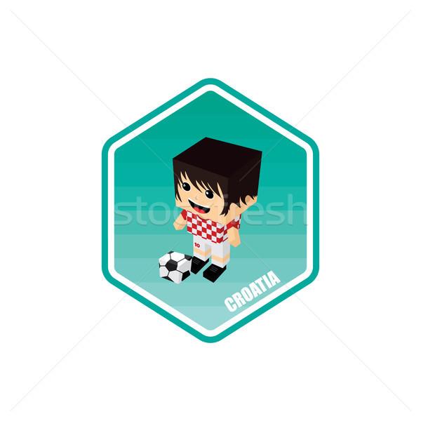 サッカー アイソメトリック クロアチア ベクトル 芸術 漫画 ストックフォト © vector1st