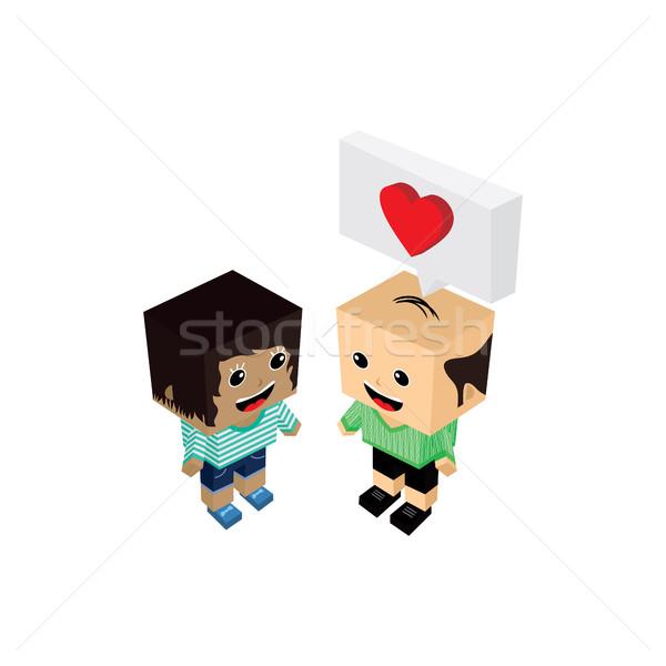 Geek çift romantizm sevmek vektör Stok fotoğraf © vector1st