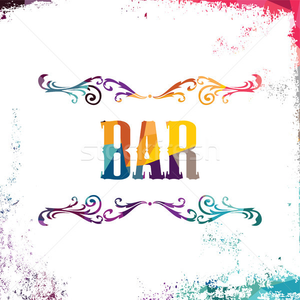 Bar Zeichen abstrakten farbenreich Dreieck geometrischen Stock foto © vector1st