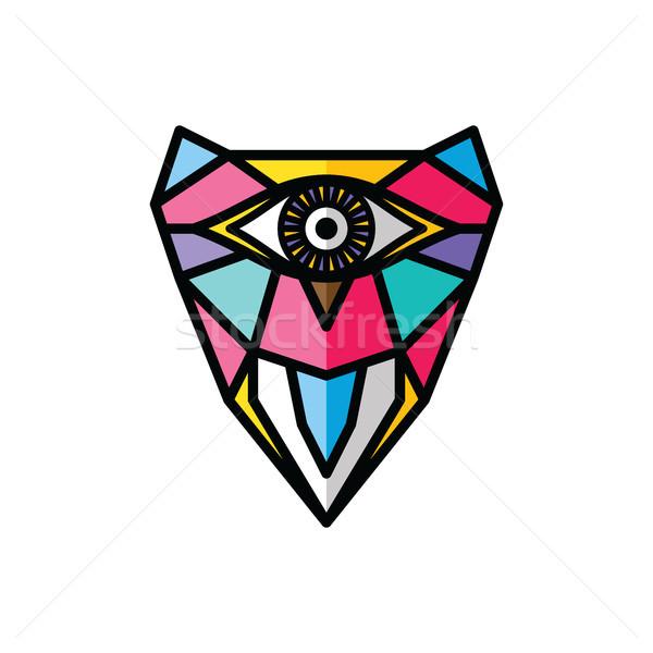Een oog uil logo kleurrijk Stockfoto © vector1st